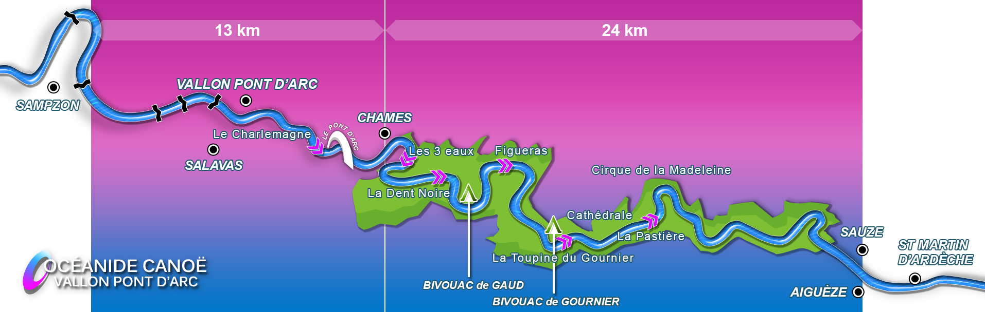 Descent map 13+24 km