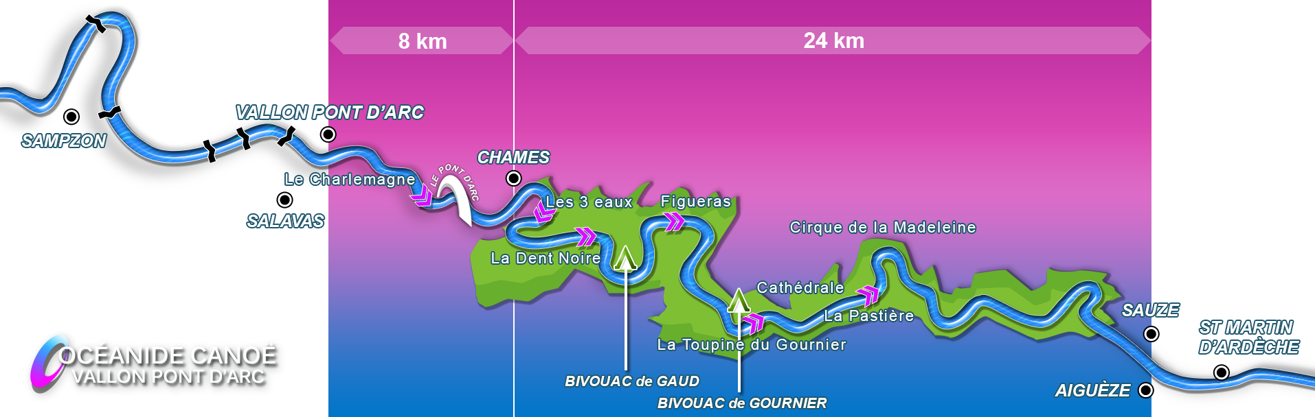 Descent map 8+24 km